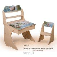 Фото Вальтер-Мебель Парта со стульчиком и надстройкой Умница с фотопечатью