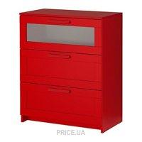 Фото IKEA BRIMNES Комод с 3 ящиками, красный, матовое стекло (502.261.29)