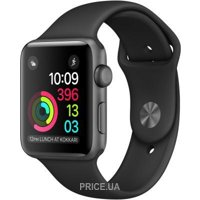 Фото Apple Watch Series 2 38mm Space Gray Aluminum Case with Black Sport Band (MP0D2)