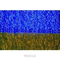 Фото Delux Curtain 288 LED 1.5x1m синий-желтый/белый IP44 (10107982)