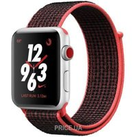 Фото Apple Watch Series 3 Nike+ (GPS) 38mm Silver Aluminum w. Bright Crimson/BlackSport L. (MQL72)