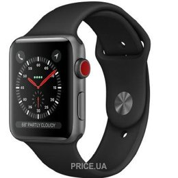 Apple Watch Series 3 (GPS) 38mm Space Gray Aluminum w. Black Sport B. (MQJP2)