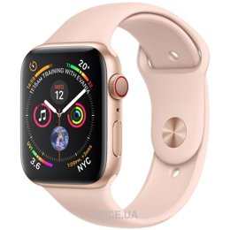 Apple Watch Series 4 (GPS + Cellular) 40mm Gold Aluminum Case with Pink Sand Sport Band (MTUJ2)