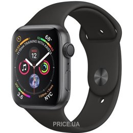 Apple Watch Series 4 (GPS) 44mm Space Gray Aluminium Case with Black Sport Band (MU6D2)