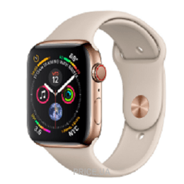 Apple Watch Series 4 (GPS + Cellular) 40mm Gold Stainless Steel Case with Stone Sport Band (MTUR2)
