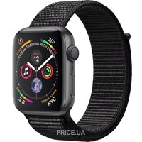 Фото Apple Watch Series 4 (GPS) 44mm Space Gray Aluminium Case with Black Sport Loop (MU6E2)