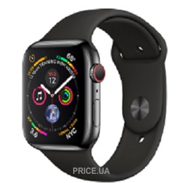 Apple Watch Series 4 (GPS + Cellular) 40mm Space Black Stainless Steel Case with Black Sport Band (MTUN2)