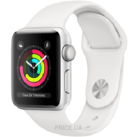 Фото Apple Watch Series 3 38mm Silver Aluminium Case with White Sport Band (MTEY2)