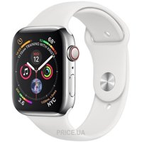 Фото Apple Watch Series 4 GPS + LTE 44mm Steel w. White Sport b. Steel (MTV22)