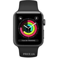 Сравнить цены на Apple Watch Series 3 GPS 38mm Space Grey Aluminium Case with Black Sport Band (MTF02)